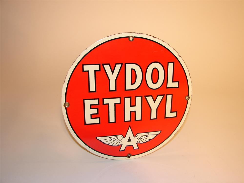 "1940s Tydol Ethyl ""Flying A"" single-sided porcelain pump plate. - Front 3/4 - 62968"