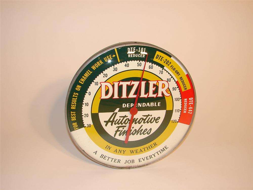 Clean 1950s Ditzler Automotive Finishes glass faced garage thermometer. - Front 3/4 - 62974