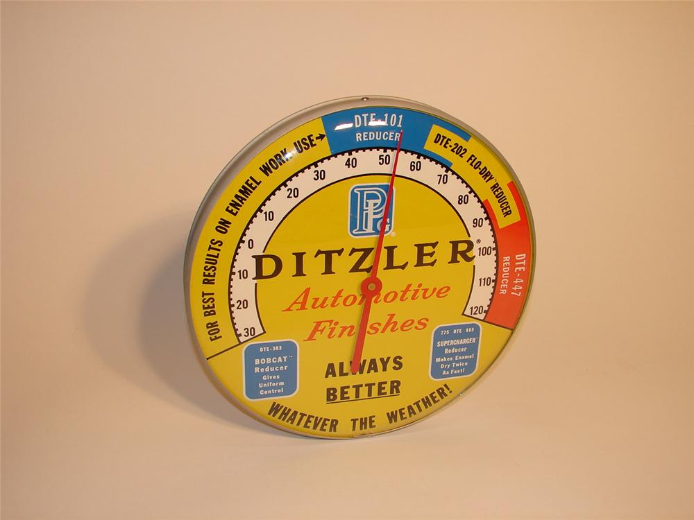 N.O.S. 1960s Ditzler Automotive Finishes glass faced garage thermometer. - Front 3/4 - 62975