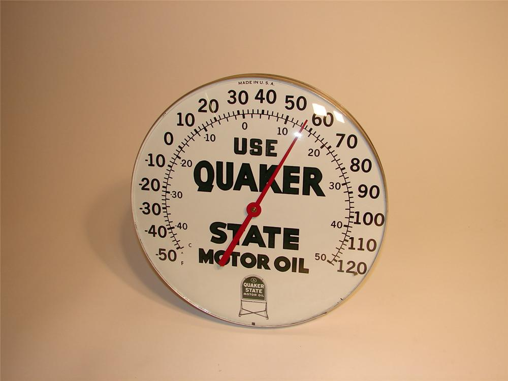 N.O.S. late 50s Quaker State Motor Oil glass faced station thermometer. - Front 3/4 - 62976