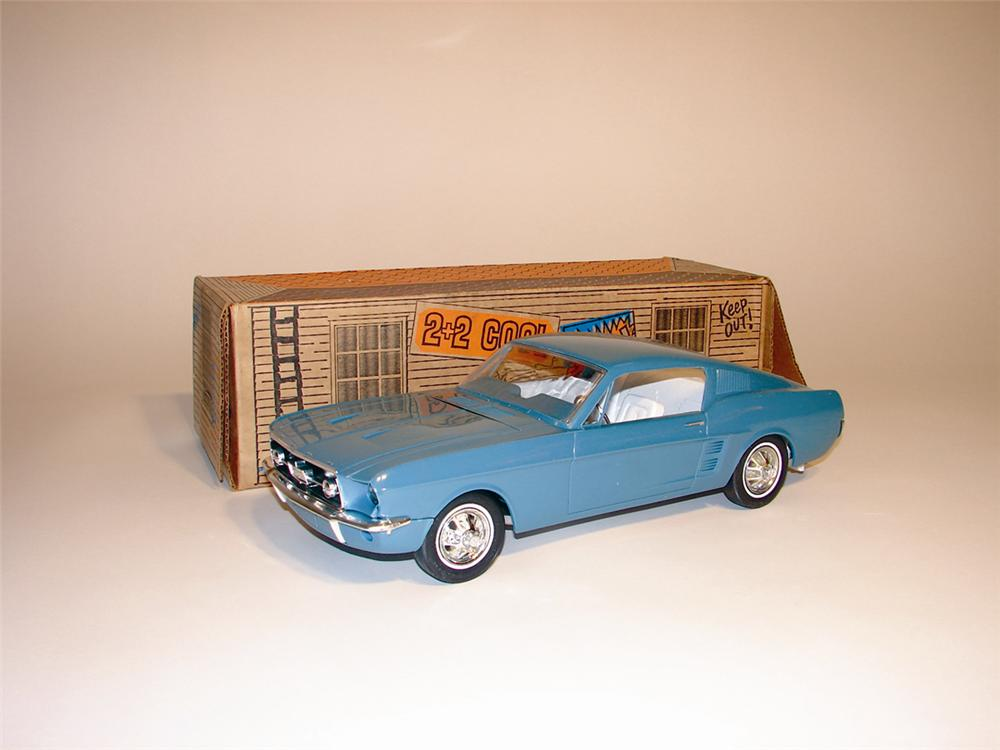 N.O.S. 1967 Ford Mustang Fastback 2+2 battery promotional operated car still in the original box. - Front 3/4 - 62978