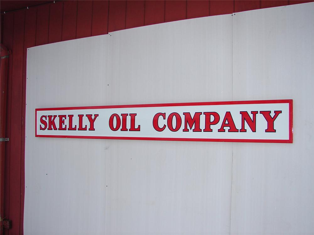 Unparalleled 1930s Skelly Oil Company single-sided porcelain station sign. - Front 3/4 - 62988