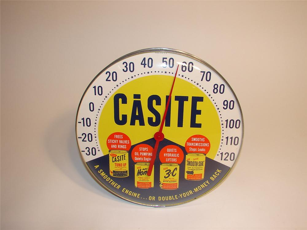 Choice late 50s-early 60s Casite Automotive Products glass faced garage thermometer. - Front 3/4 - 62990