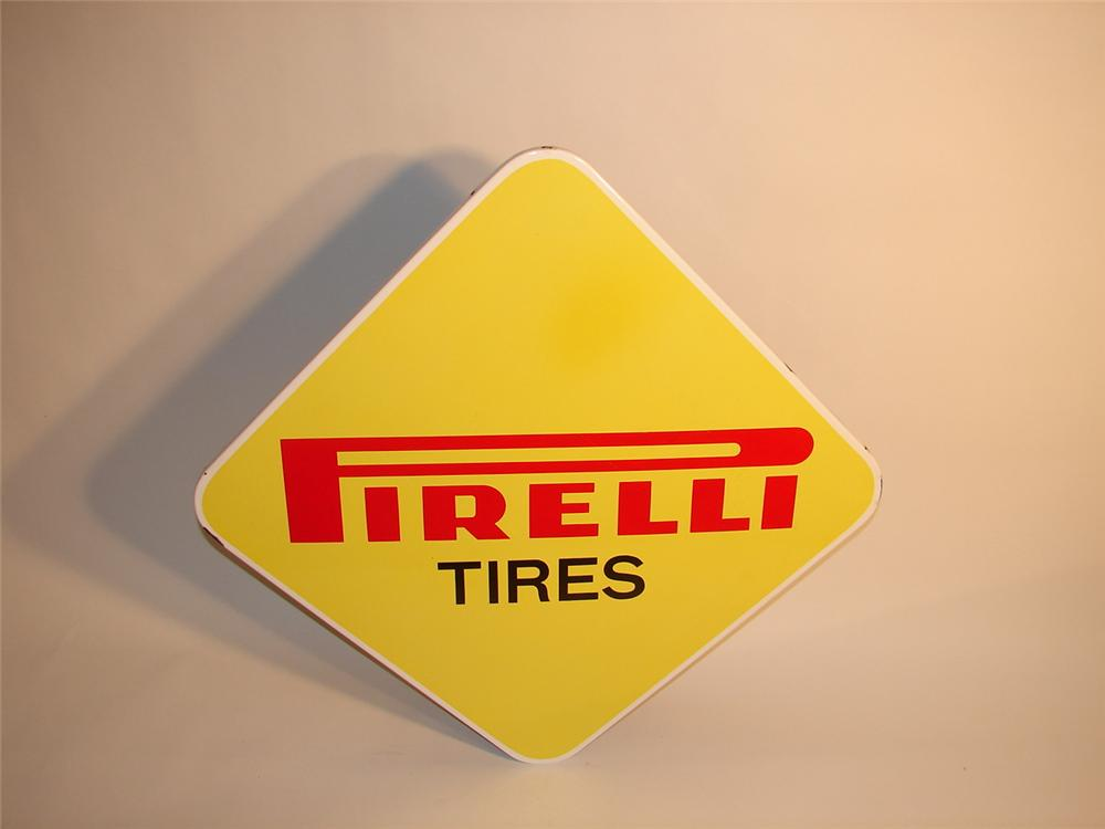 Choice 1960s Pirelli Tires single-sided porcelain garage sign. - Front 3/4 - 62995