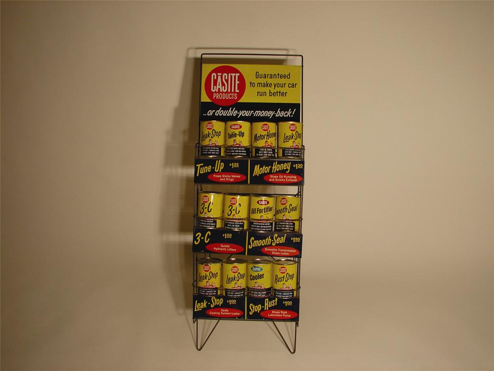 1960s Casite Automotive Additives station rack complete with 12 unused cans. - Front 3/4 - 62996