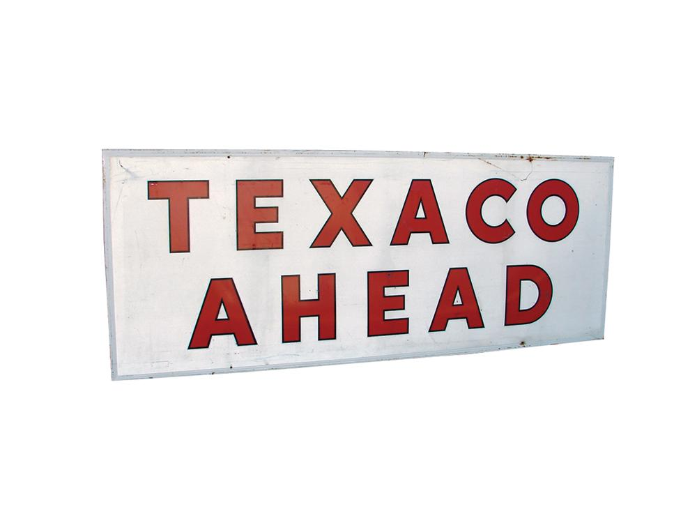 Large late 50s-early 60s Texaco Ahead wood framed tin painted station sign. - Front 3/4 - 62998