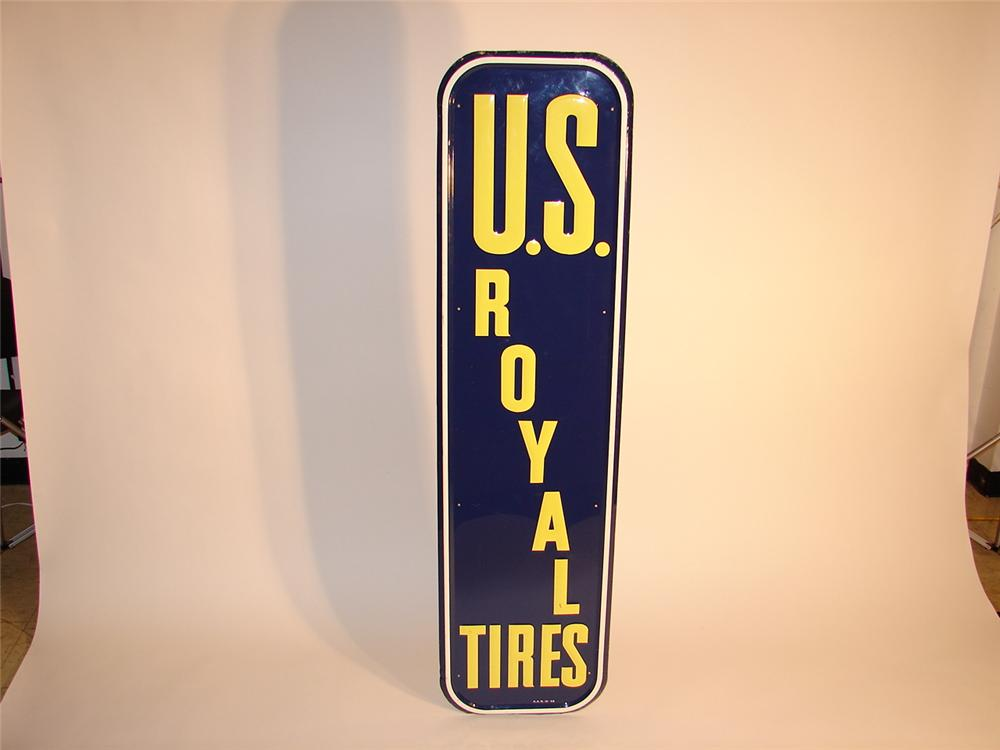 N.O.S. 1948 U.S. Royals Tires embossed tin garage sign. - Front 3/4 - 63007