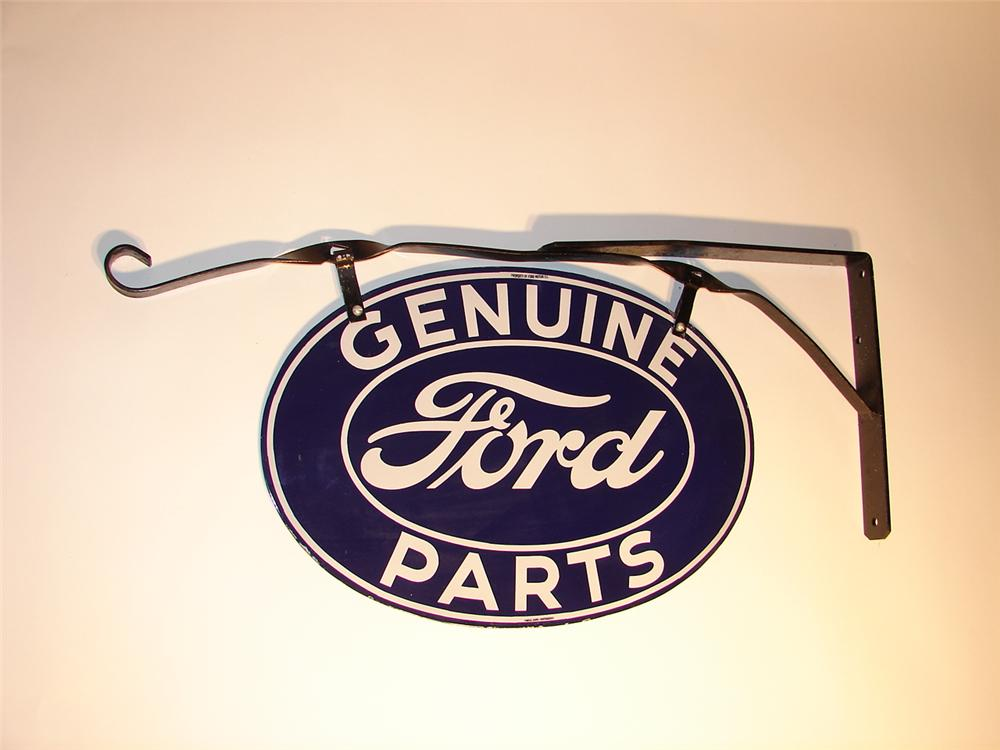 Fantastic 1930s Ford Genuine Parts double-sided porcelain sign with hanging bracket. - Front 3/4 - 63009