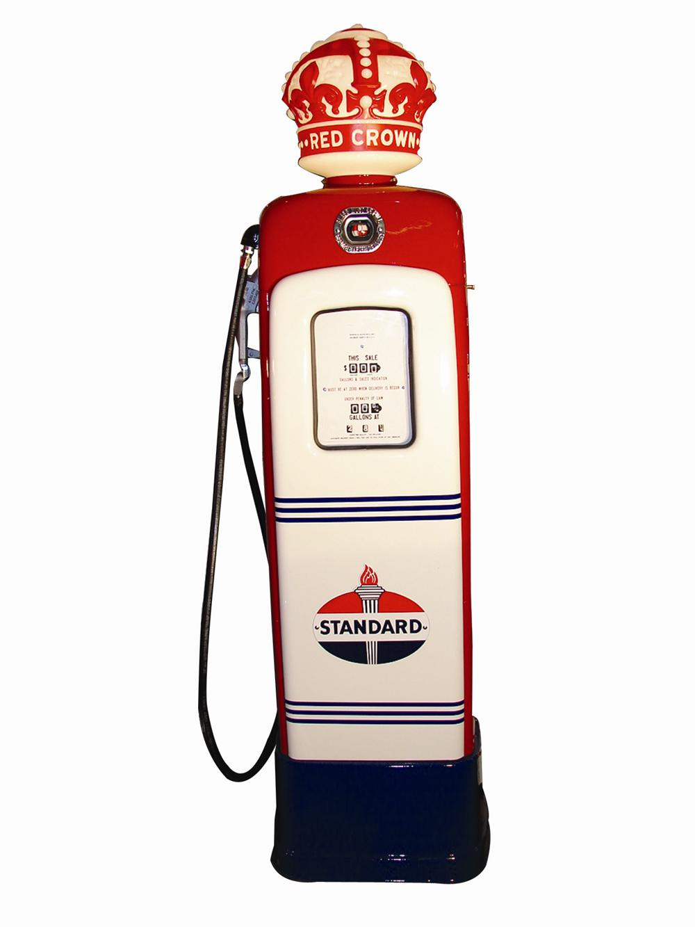 Sharp 1946 M & S 80 Standard Red Crown Gasoline station pump. - Front 3/4 - 63012
