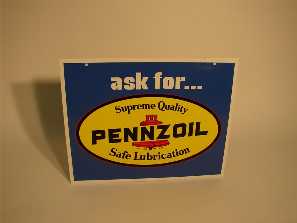 N.O.S.Ask For Pennzoil double-sided tin garage sign. - Front 3/4 - 63018
