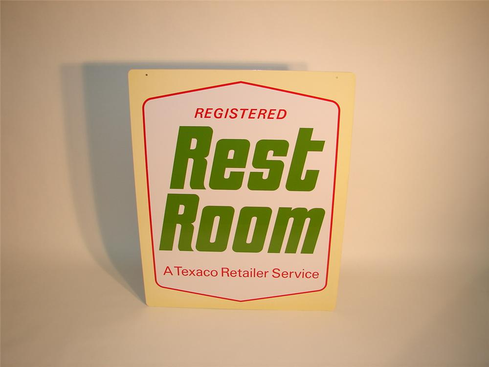 N.O.S. 1960s Texaco Restroom dbl-sided tin station sign. - Front 3/4 - 63019