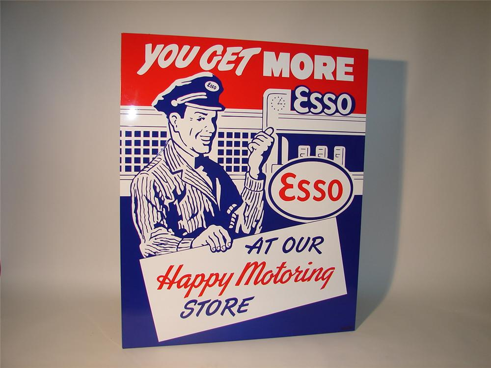 "Newer Esso ""Happy Motoring"" embossed tin station sign with wood frame. - Front 3/4 - 63027"