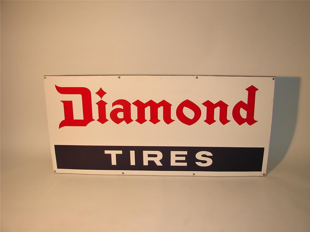 Very clean N.O.S. Diamond Tires tire garage sign on wood frame. - Front 3/4 - 63030