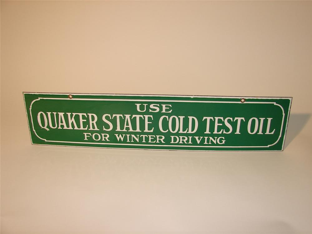 """Interesting N.O.S. 1930s Quaker State """"Cold Test"""" Motor Oil double-sided porcelain garage sign. - Front 3/4 - 63035"""