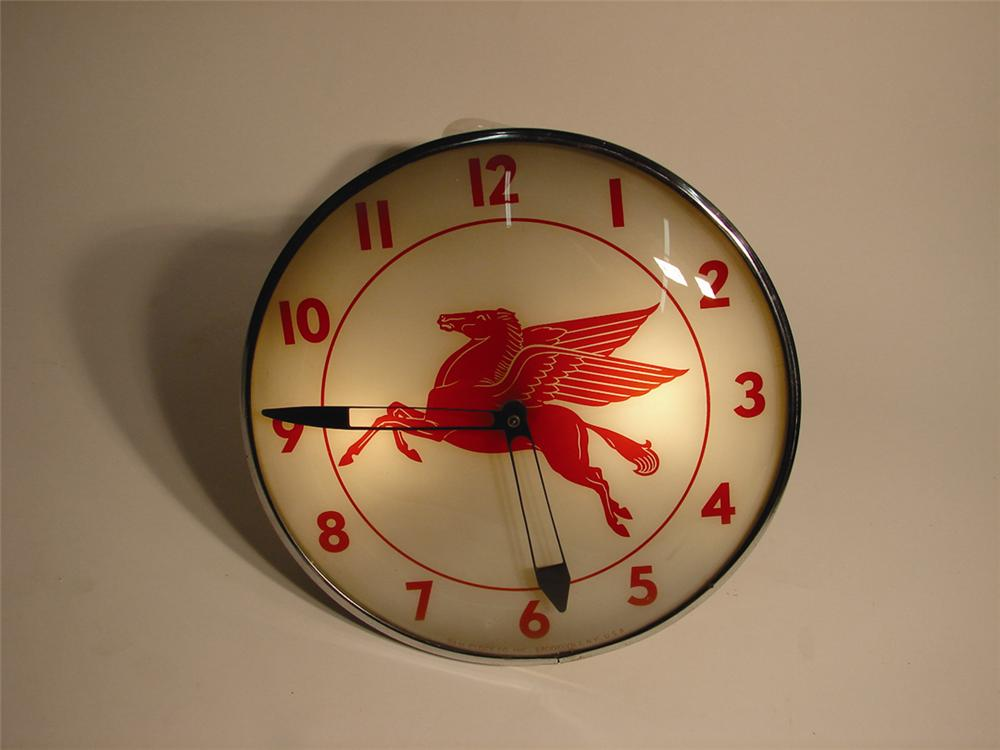 1950s Mobil glass faced light-up station clock by Pam. - Front 3/4 - 63039