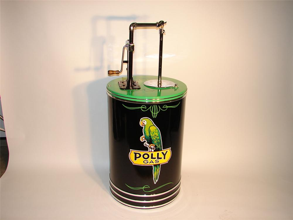 Sharp 1930s Polly Service Station hand crank oil dispenser tank. - Front 3/4 - 63044
