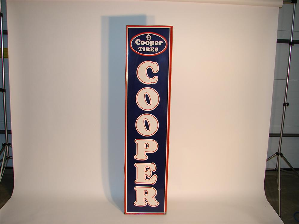 Very clean 1950s Cooper Tires vertical tin garage sign. - Front 3/4 - 63048