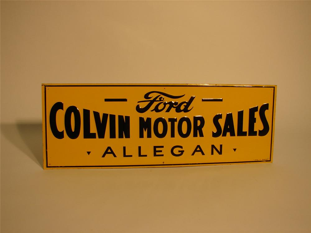 N.O.S. 1930s Ford single-sided tin garage sign. - Front 3/4 - 63050