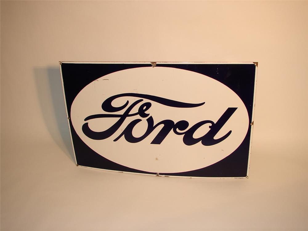1940s Ford single-sided porcelain dealership sign. - Front 3/4 - 63053