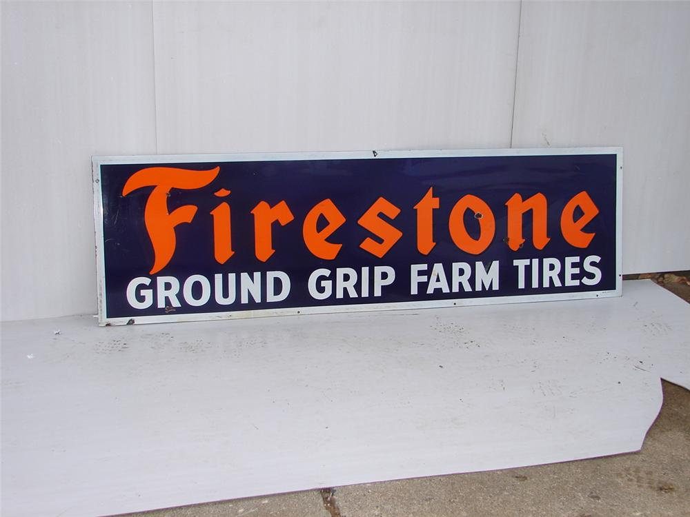 Fire Stone Tires single-sided porcelain station sign. - Front 3/4 - 63069