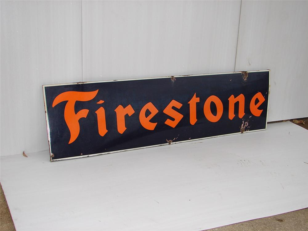 1940s Firestone Tires horizontal porcelain garage sign. - Front 3/4 - 63074
