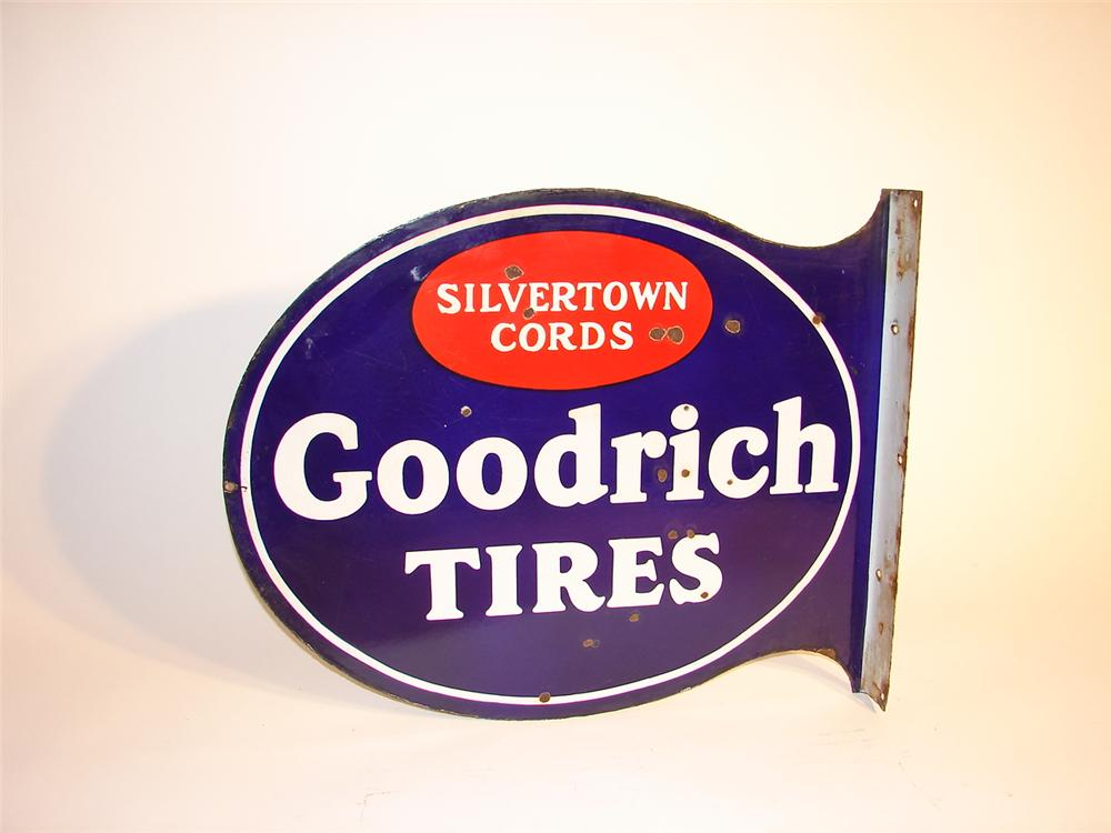 Goodrich Tires double-sided porcelain garage flange. - Front 3/4 - 63078