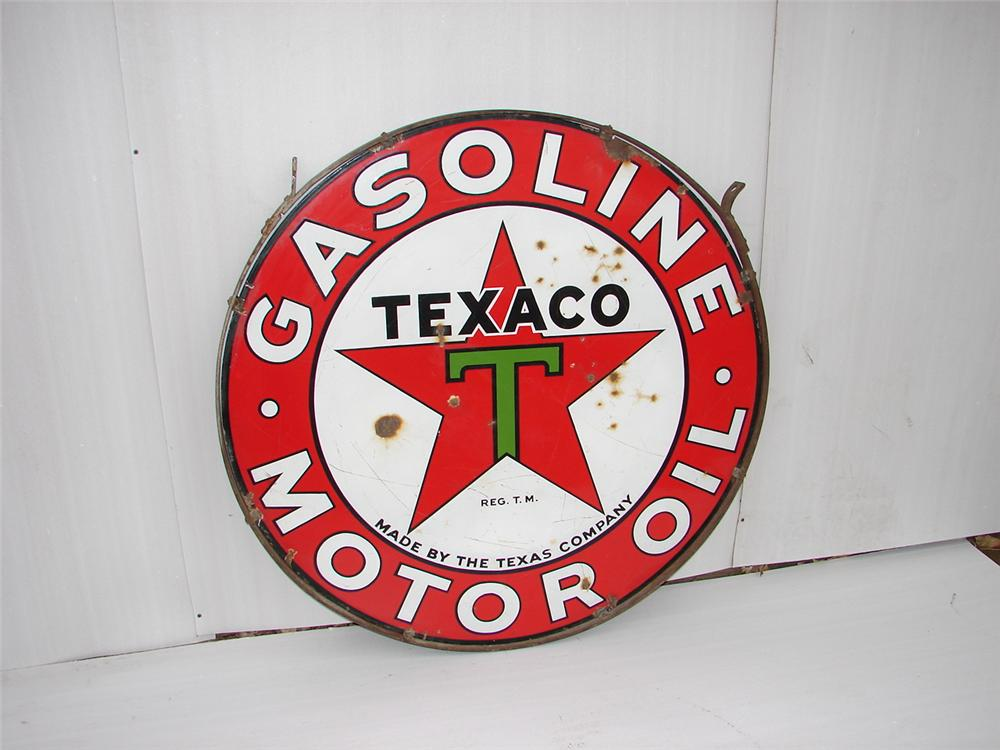1930s Texaco double-sided porcelain station sign with original hanging ring. - Front 3/4 - 63079