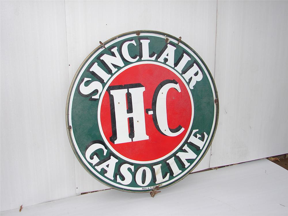 1930s-40s HC Sinclair double-sided porcelain station sign. - Front 3/4 - 63084