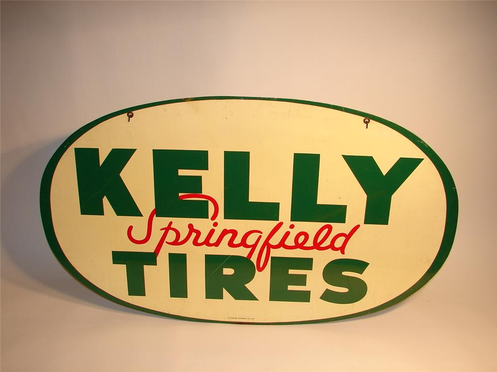 1939 Kelly Springfield Tires double-sided tin garage sign. - Front 3/4 - 63087