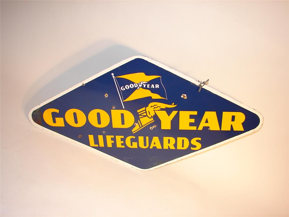 """Unusual 1950s Goodyear """"Lifeguards"""" double-sided porcelain garage sign. - Front 3/4 - 63093"""