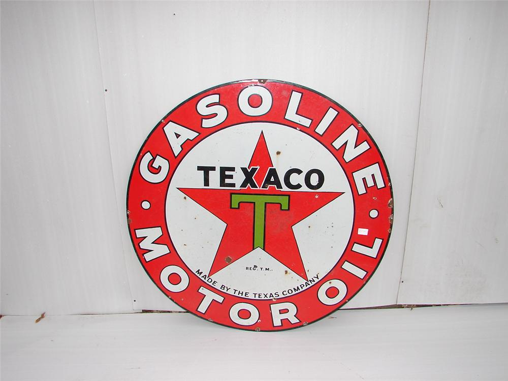 1930s Texaco double-sided porcelain service station sign. - Front 3/4 - 63097