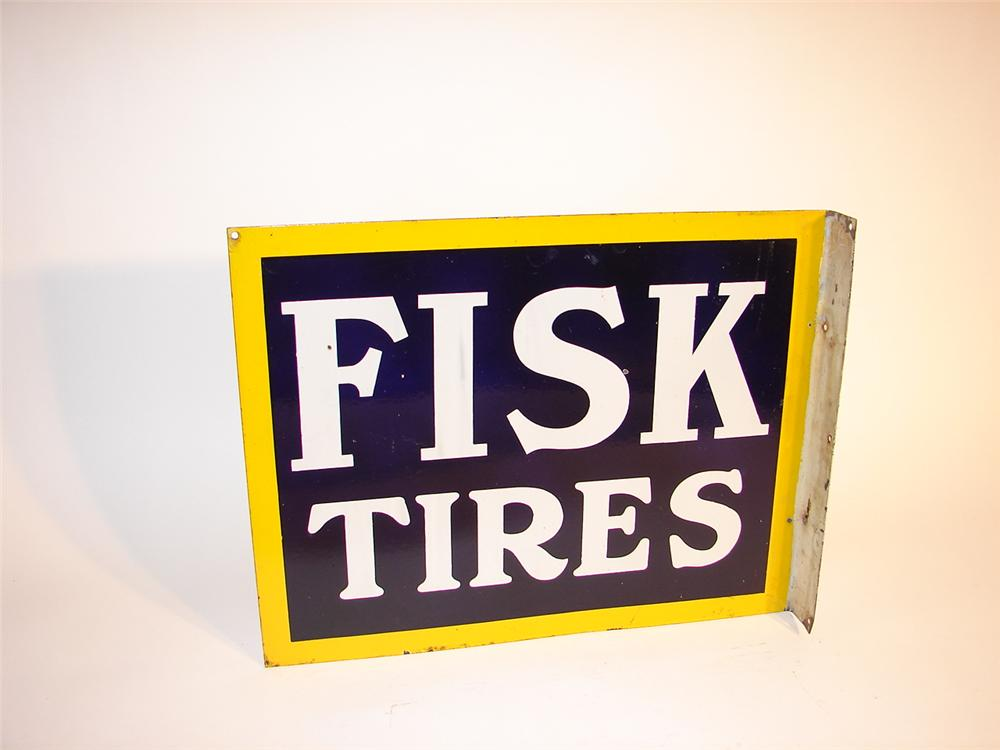 1930s Fisk Tires double-sided porcelain garage sign. - Front 3/4 - 63099