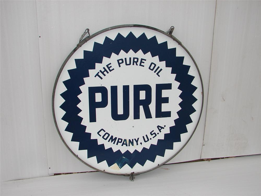 Very clean 1930s Pure Oil double-sided porcelain service station sign. - Front 3/4 - 63108