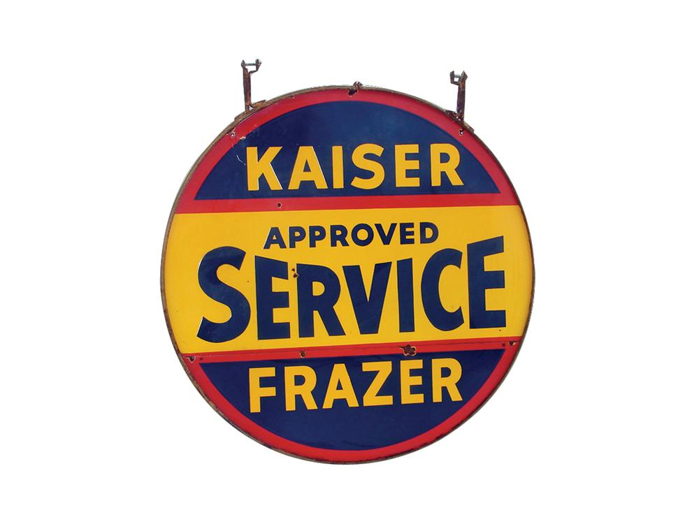 1940s Kaiser-Frazer double-sided porcelain dealership sign with original hanging bracket. - Front 3/4 - 63111