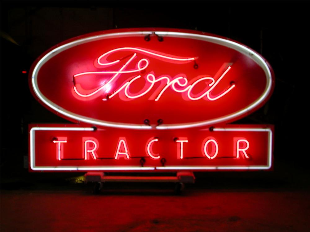 1950s Ford Tractors single-sided neon-porcelain dealership sign. - Front 3/4 - 63112