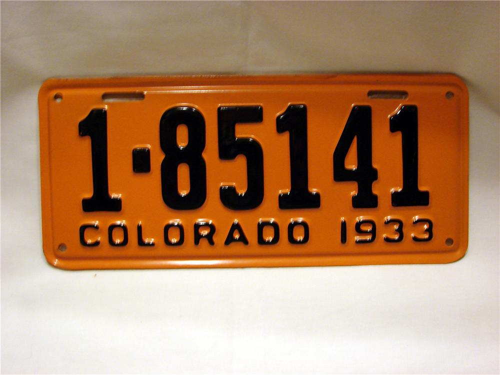 N.O.S. set of 1933 Colorado license plates still in the original sleeve. - Front 3/4 - 63140