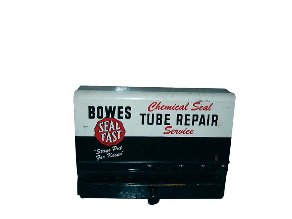 """1950s Bowes """"Seal Fast"""" Tube Repair Service counter-top garage display kit with tools. - Front 3/4 - 63236"""