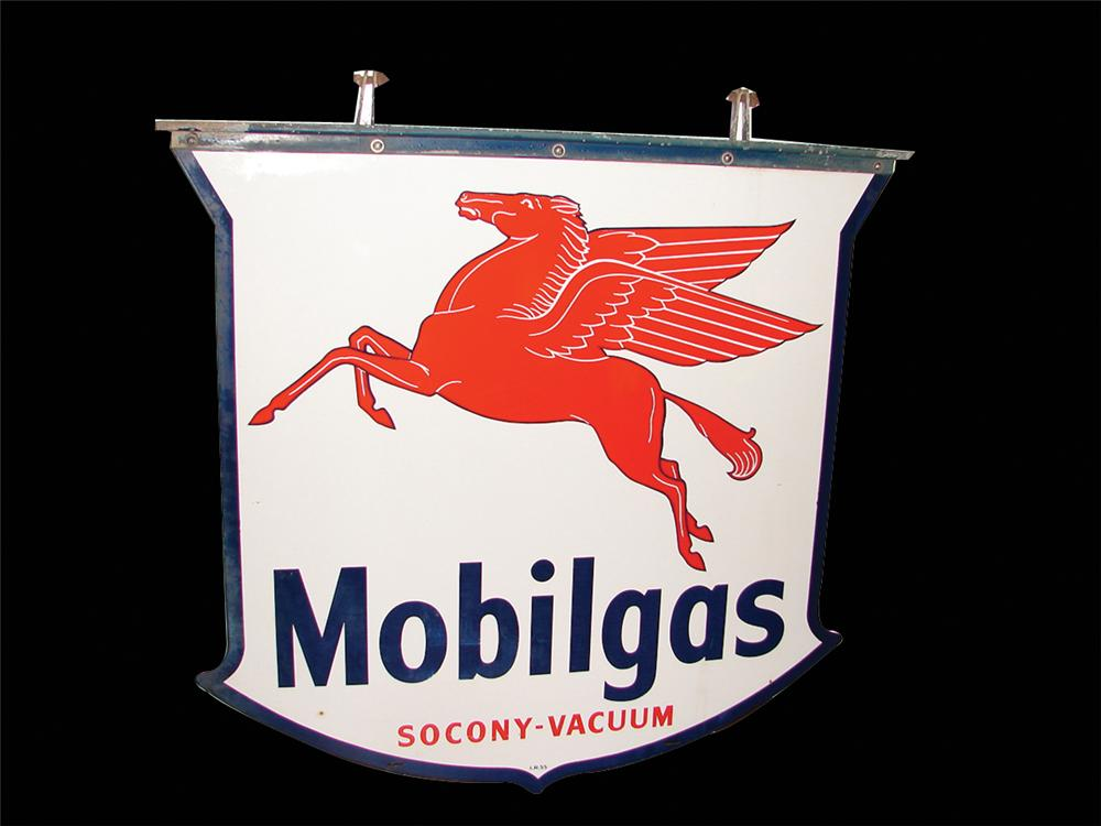 Late 50s-early 60s Mobil Oil double-sided porcelain dealership sign with Pegasus graphic. - Front 3/4 - 63242