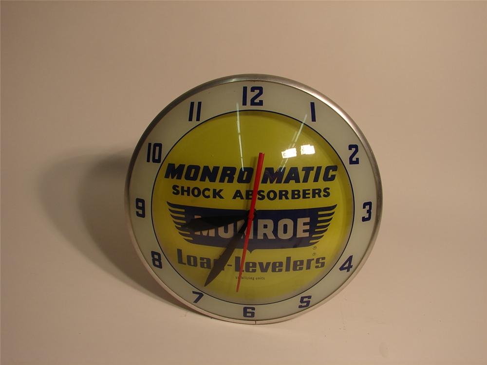 Sharp late 50s-early 60s Monroe Shock Absorbers dbl-bubble glass faced clock. - Front 3/4 - 63252
