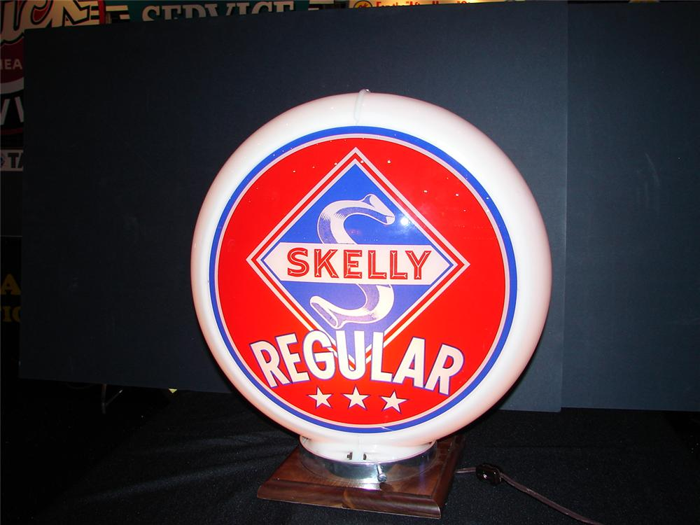 "N.O.S. 1949 Skelly Regular 13.5"" Capco plastic bodied gas pump globe. - Front 3/4 - 63258"