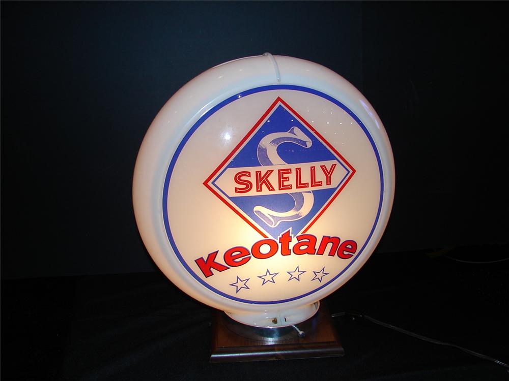 "Sharp 1949 N.O.S. Skelly Keotane 13.5""  Capco plastic bodied gas pump globe. - Front 3/4 - 63260"