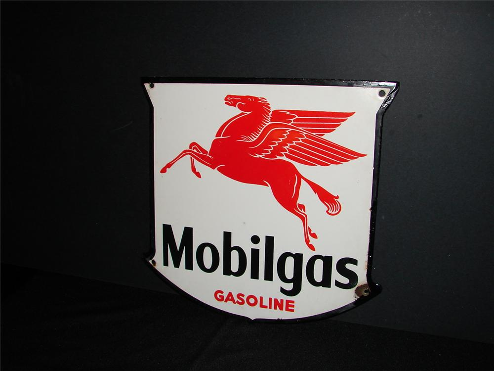 "1950s Mobilgas ""Gasoline"" single-sided porcelain pump plate sign. - Front 3/4 - 63268"