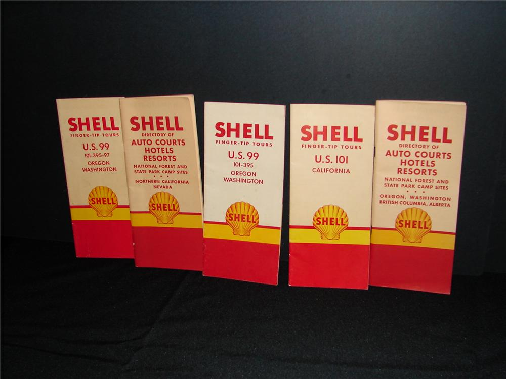 Lot of five N.O.S. Circa 1949-1950 Shell Oil Travel guides. - Front 3/4 - 63269