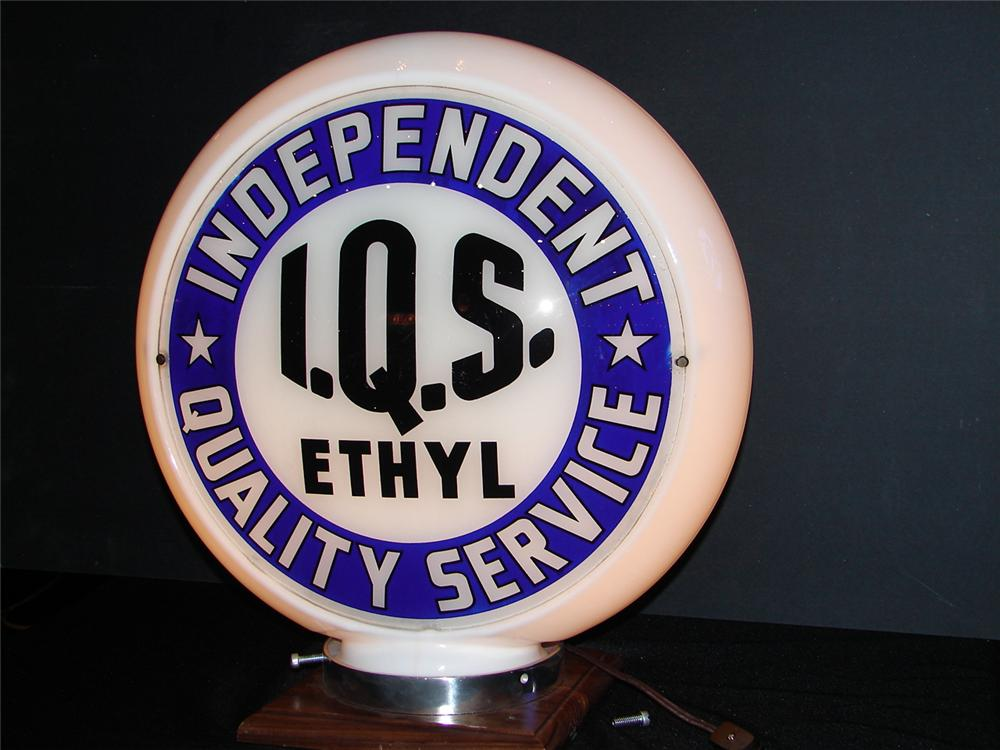 Unusual Independent I.Q.S. Gasoline narrow-bodied glass gas pump globe. - Front 3/4 - 63271