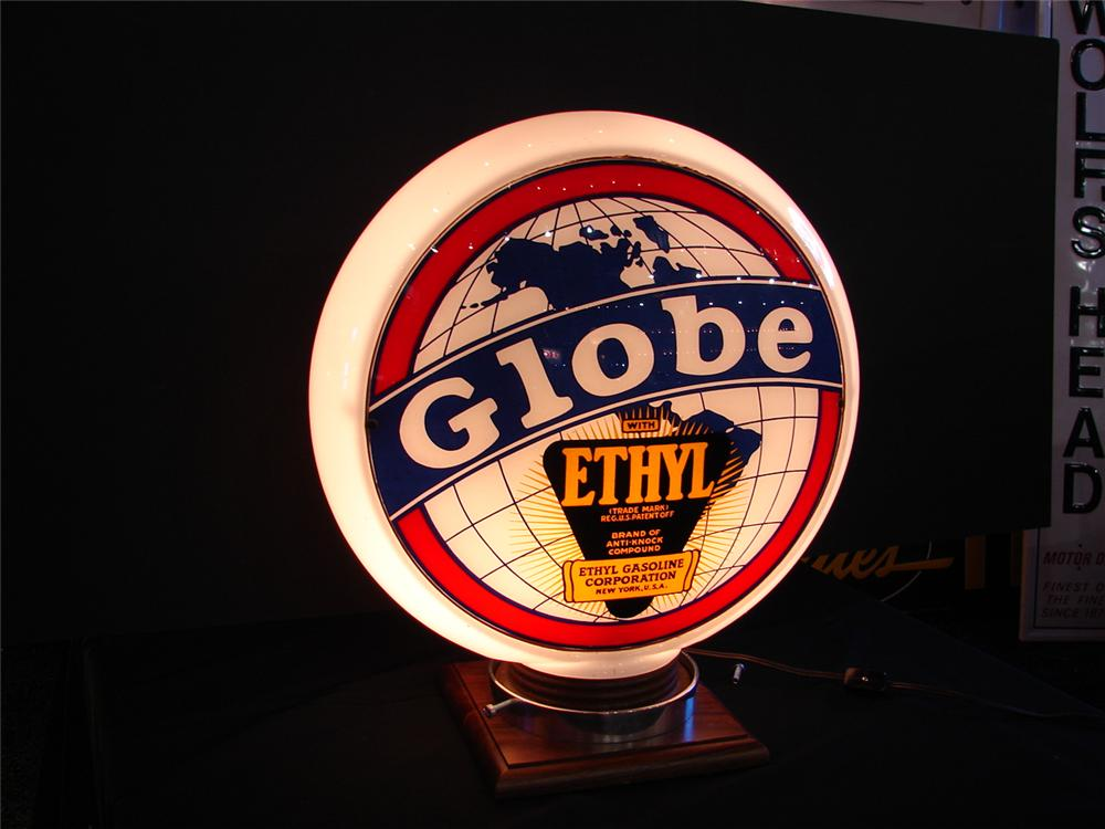 Magnificent 1940s Globe Gasoline with Ethyl narrow-bodied gas pump globe. - Front 3/4 - 63736