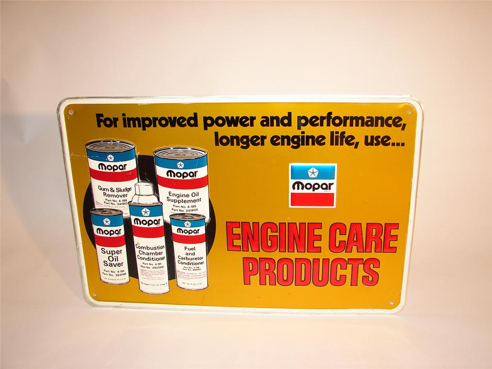 Impossible to find late 60s-early 70s Mopar Engine Care Products tin garage sign. - Front 3/4 - 64496
