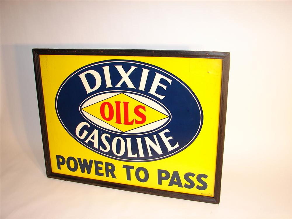 "Impressive N.O.S. 1930s Dixie Gasoline-Oils ""Power to Pass"" wood framed tin garage sign. - Front 3/4 - 64497"