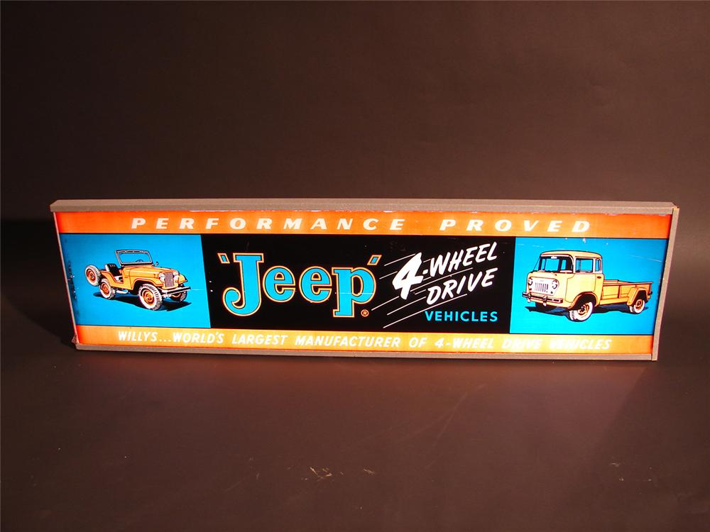 Rarely seen late 50s Willys Jeep Four Wheel Drive vehicles light-up dealership sign. - Front 3/4 - 64500