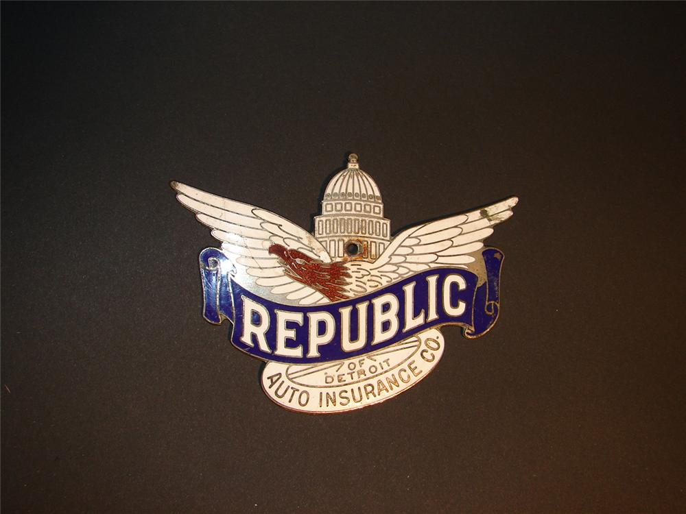 Late 20s-early 30s Republic Auto Insurance Company enameled license plate attachment sign. - Front 3/4 - 64511