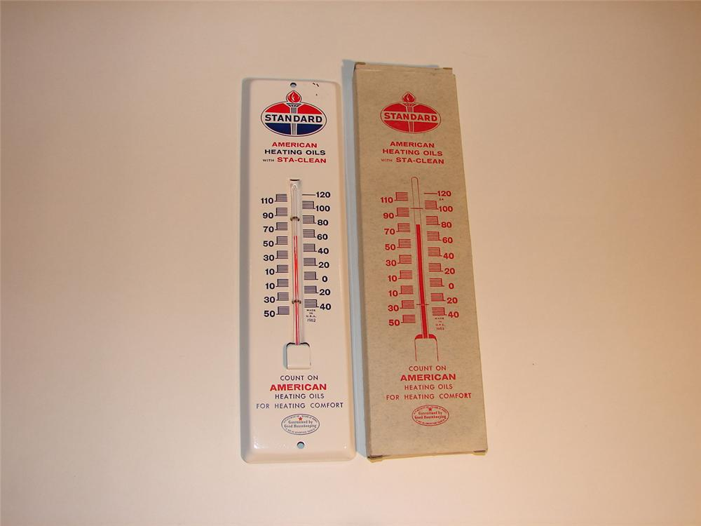N.O.S. 1950s Standard Heating Oils tin painted garage thermometer still in the original box. - Front 3/4 - 64537